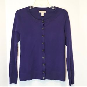 Banana Republic purple merino wool cardigan